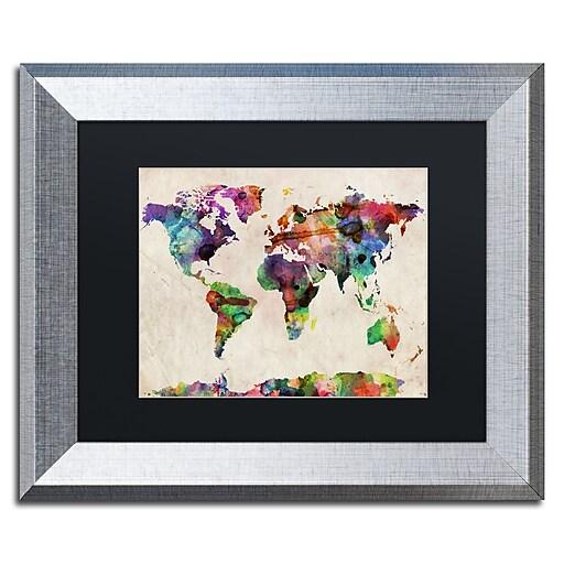 "Trademark Fine Art ''Urban Watercolor World Map'' by Michael Tompsett 11"" x 14"" Black Matted Silver Frame (MT0013-S1114BMF)"