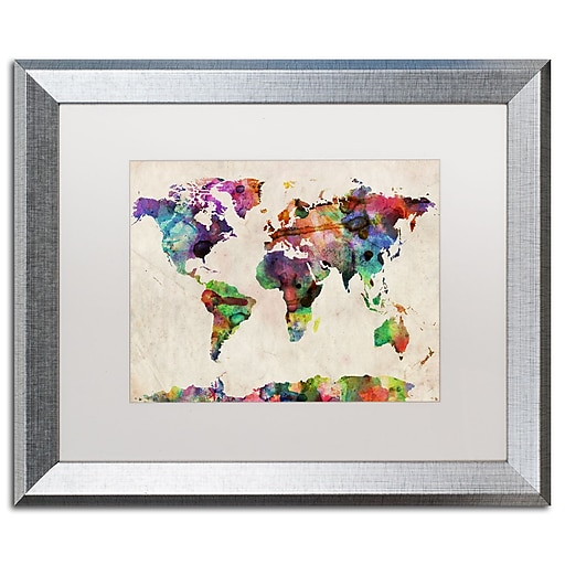 "Trademark Fine Art ''Urban Watercolor World Map'' by Michael Tompsett 16"" x 20"" White Matted Silver Frame (MT0013-S1620MF)"