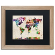 "Trademark Fine Art ''Urban Watercolor World Map'' by Michael Tompsett 16"" x 20"" Black Matted Wood Frame (MT0013-T1620BMF)"