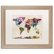 "Trademark Fine Art ''Urban Watercolor World Map'' by Michael Tompsett 16"" x 20"" White Matted Wood Frame (MT0013-T1620MF)"