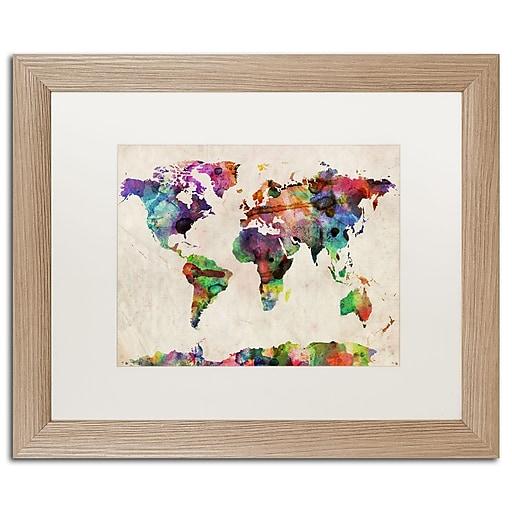 "Trademark Fine Art ''Urban Watercolor World Map'' by Michael Tompsett 16"" x 20"" White Matted Wood Frame (MT0013-T1620MF)"
