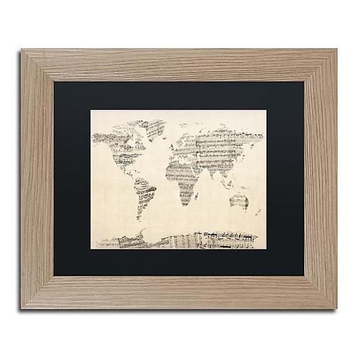 "Trademark Fine Art ''Old Sheet Music World Map'' by Michael Tompsett 11"" x 14"" Wood Frame (MT0016-T1114BMF)"
