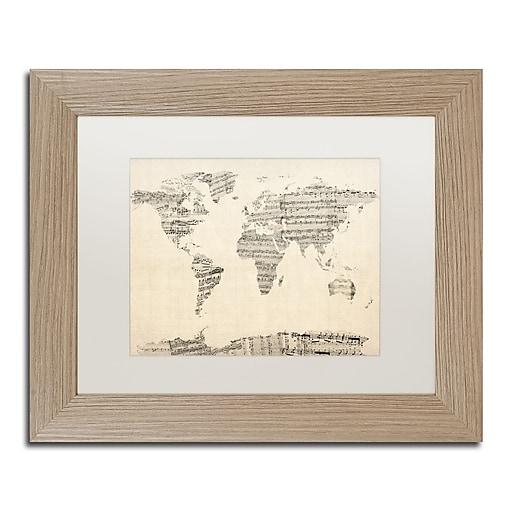 "Trademark Fine Art ''Old Sheet Music World Map'' by Michael Tompsett 11"" x 14"" Wood Frame (MT0016-T1114MF)"