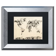 "Trademark Fine Art ''Old Clocks World Map'' by Michael Tompsett 11"" x 14"" Black Matted Silver Frame (MT0025-S1114BMF)"
