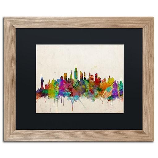 "Trademark Fine Art ''New York Skyline'' by Michael Tompsett 16"" x 20"" Black Matted Wood Frame (MT0187-T1620BMF)"