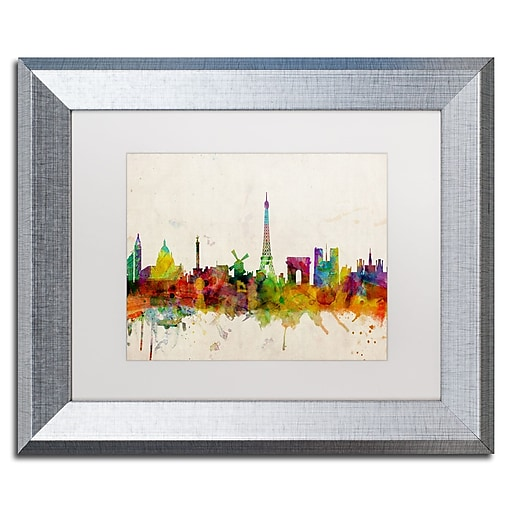 "Trademark Fine Art ''Paris Skyline'' by Michael Tompsett 11"" x 14"" White Matted Silver Frame (MT0188-S1114MF)"