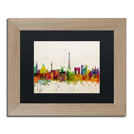 "Trademark Fine Art ''Paris Skyline'' by Michael Tompsett 11"" x 14"" Black Matted Wood Frame (MT0188-T1114BMF)"