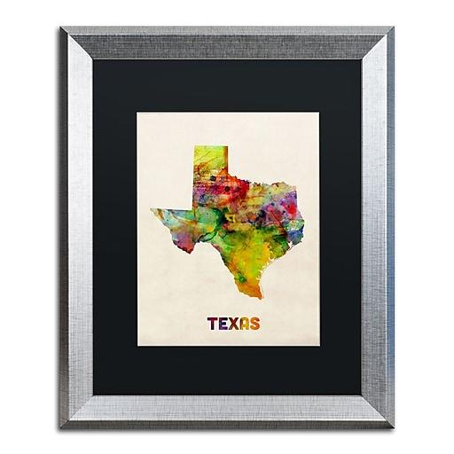 "Trademark Fine Art ''Texas Map'' by Michael Tompsett 16"" x 20"" Black Matted Silver Frame (MT0320-S1620BMF)"