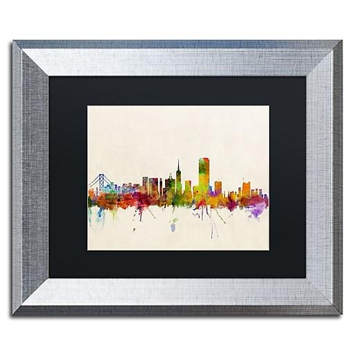 "Trademark Fine Art ''San Francisco CA'' by Michael Tompsett 11"" x 14"" Black Matted Silver Frame (MT0371-S1114BMF)"
