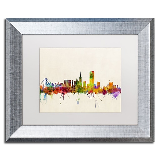 "Trademark Fine Art ''San Francisco CA'' by Michael Tompsett 11"" x 14"" White Matted Silver Frame (MT0371-S1114MF)"