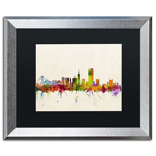 "Trademark Fine Art ''San Francisco CA'' by Michael Tompsett 16"" x 20"" Black Matted Silver Frame (MT0371-S1620BMF)"