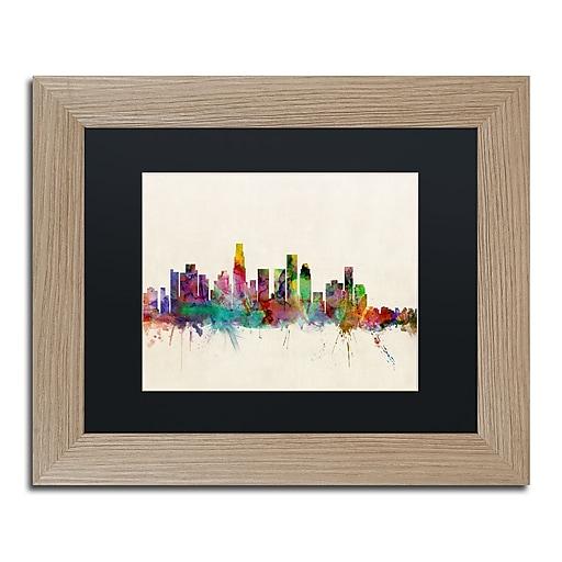 "Trademark Fine Art ''Los Angeles CA'' by Michael Tompsett 11"" x 14"" Black Matted Wood Frame (MT0373-T1114BMF)"