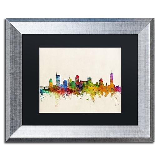 """Trademark Fine Art ''Nashville Skyline'' by Michael Tompsett 11"""" x 14"""" Black Matted Silver Frame (MT0428-S1114BMF)"""
