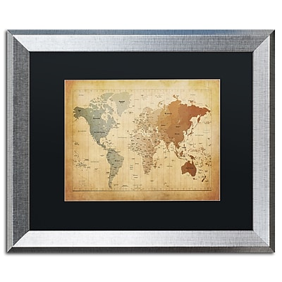"Trademark Fine Art ''Time Zones Map of the World'' by Michael Tompsett 16"" x 20"" Black Matted Silver Frame (MT0492-S1620BMF)"