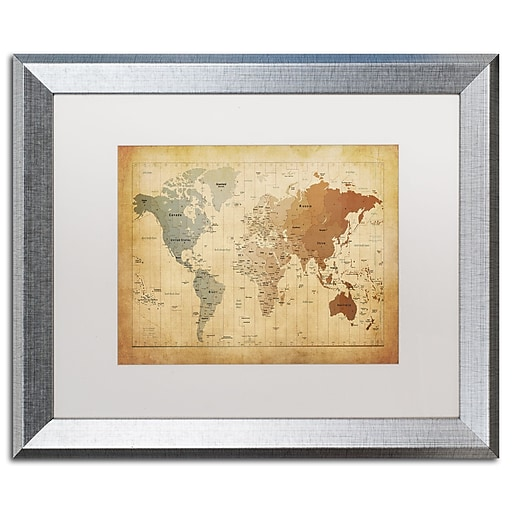 """Trademark Fine Art ''Time Zones Map of the World'' by Michael Tompsett 16"""" x 20"""" White Matted Silver Frame (MT0492-S1620MF)"""
