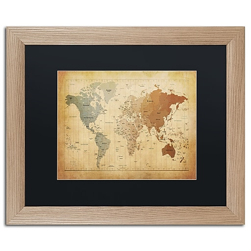 "Trademark Fine Art ''Time Zones Map of the World'' by Michael Tompsett 16"" x 20"" Black Matted Wood Frame (MT0492-T1620BMF)"