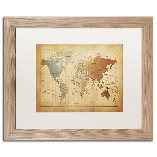 """Trademark Fine Art ''Time Zones Map of the World'' by Michael Tompsett 16"""" x 20"""" White Matted Wood Frame (MT0492-T1620MF)"""