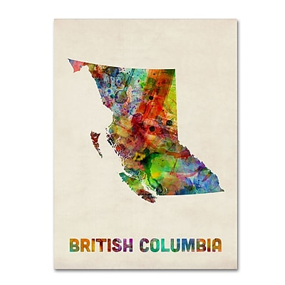 Trademark Fine Art ''British Columbia Watercolor Map'' by Michael Tompsett 35