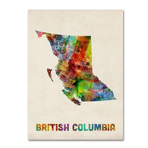 "Trademark Fine Art ''British Columbia Watercolor Map'' by Michael Tompsett 24"" x 32"" Canvas Art (MT0503-C2432GG)"