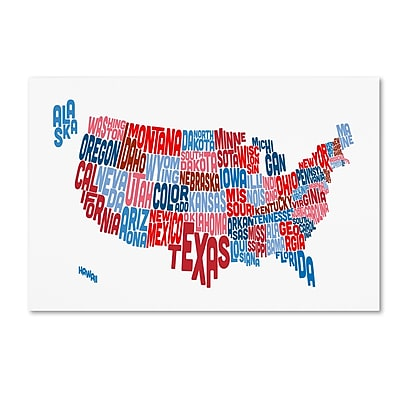 Trademark Fine Art ''United States Typography Text Map'' by Michael Tompsett 22