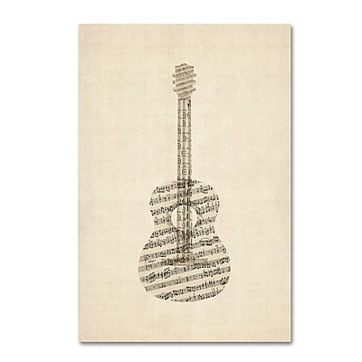 Trademark Fine Art ''Acoustic Guitar Old Sheet Music'' by Michael Tompsett 22