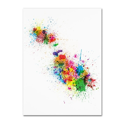 Trademark Fine Art ''Malta Map Paint Splashes'' by Michael Tompsett 18
