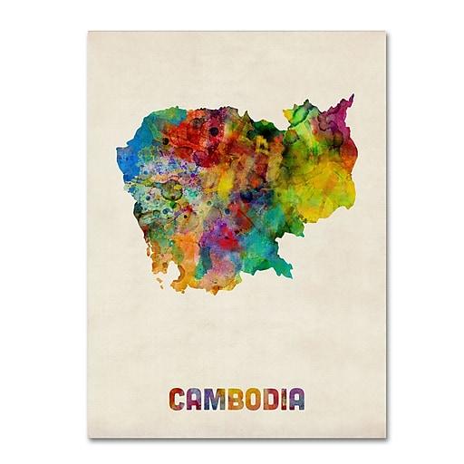 "Trademark Fine Art ''Cambodia Watercolor Map'' by Michael Tompsett 14"" x 19"" Canvas Art (MT0509-C1419GG)"