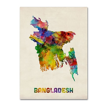 Trademark Fine Art ''Bangladesh Watercolor Map'' by Michael Tompsett 35