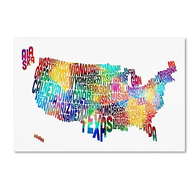 Trademark Fine Art ''United States Typography Text Map 2'' by Michael Tompsett 16