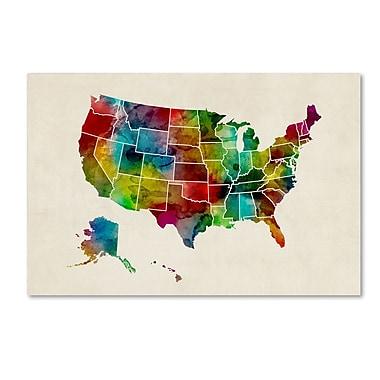 Trademark Fine Art ''United States Watercolor Map 2'' by Michael Tompsett 12