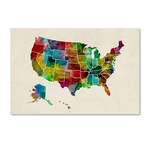 "Trademark Fine Art ''United States Watercolor Map 2'' by Michael Tompsett 22"" x 32"" Canvas Art (MT0514-C2232GG)"
