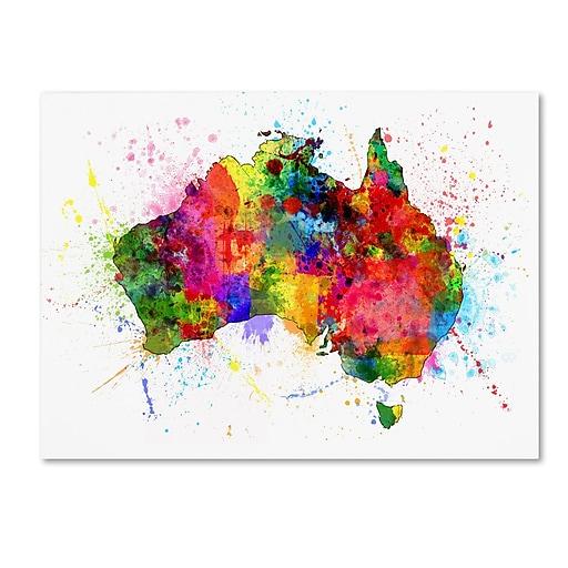 "Trademark Fine Art ''Australia Paint Splashes Map'' by Michael Tompsett 35"" x 47"" Canvas Art (MT0515-C3547GG)"