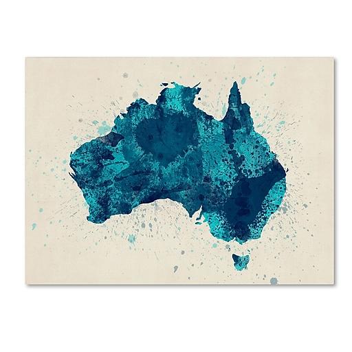 "Trademark Fine Art ''Australia Paint Splashes Map 2'' by Michael Tompsett 18"" x 24"" Canvas Art (MT0516-C1824GG)"