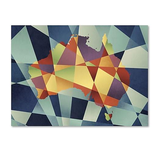 "Trademark Fine Art ''Australia Geometric Retro Map'' by Michael Tompsett 14"" x 19"" Canvas Art (MT0517-C1419GG)"