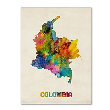 Trademark Fine Art ''Colombia Watercolor Map'' by Michael Tompsett 24