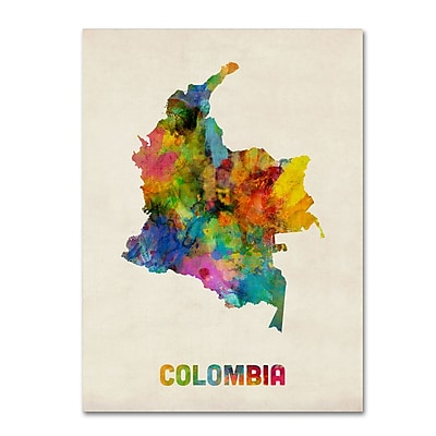 Trademark Fine Art ''Colombia Watercolor Map'' by Michael Tompsett 14
