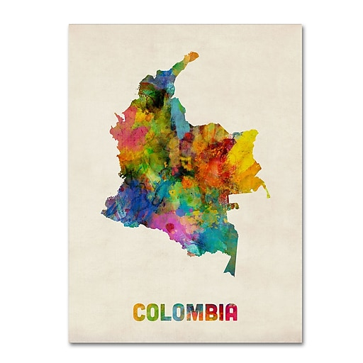 "Trademark Fine Art ''Colombia Watercolor Map'' by Michael Tompsett 24"" x 32"" Canvas Art (MT0518-C2432GG)"