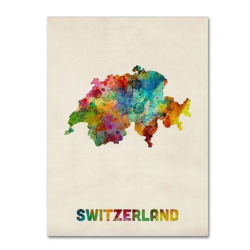 "Trademark Fine Art ''Switzerland Watercolor Map'' by Michael Tompsett 24"" x 32"" Canvas Art (MT0520-C2432GG)"