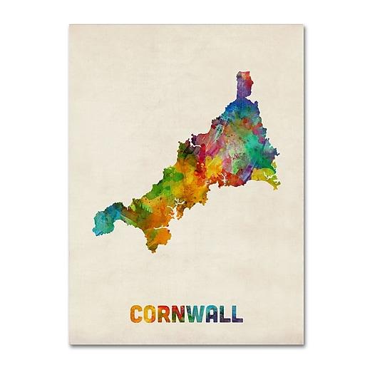"Trademark Fine Art ''Cornwall England Watercolor Map'' by Michael Tompsett 24"" x 32"" Canvas Art (MT0521-C2432GG)"