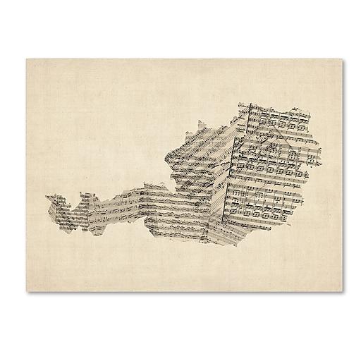 """Trademark Fine Art ''Old Sheet Music Map of Austria'' by Michael Tompsett 35"""" x 47"""" Canvas Art (MT0524-C3547GG)"""
