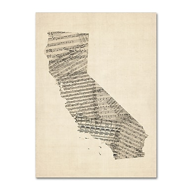 Trademark Fine Art ''Old Sheet Music Map of California'' by Michael Tompsett 18