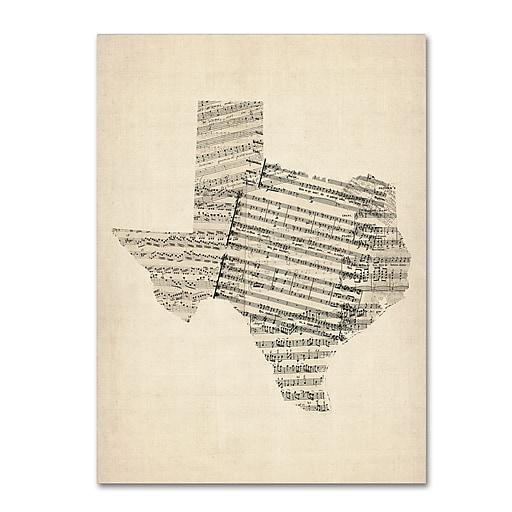 """Trademark Fine Art ''Old Sheet Music Map of Texas'' by Michael Tompsett 18"""" x 24"""" Canvas Art (MT0528-C1824GG)"""