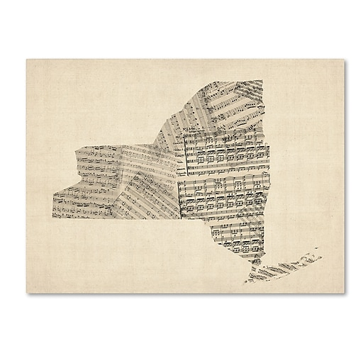 """Trademark Fine Art ''Old Sheet Music Map of New York State'' by Michael Tompsett 24"""" x 32"""" Canvas (MT0530-C2432GG)"""