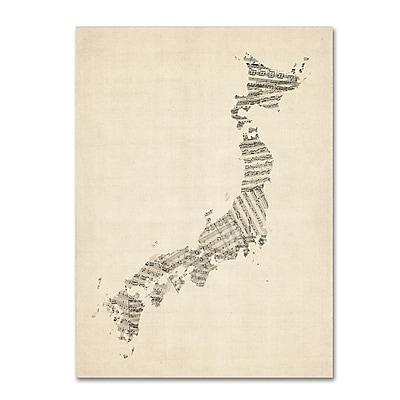 Trademark Fine Art ''Old Sheet Music Map of Japan'' by Michael Tompsett 35