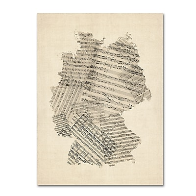 Trademark Fine Art ''Old Sheet Music Map of Germany'' by Michael Tompsett 18