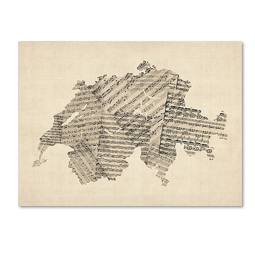 "Trademark Fine Art ''Old Sheet Music Map of Switzerland'' by Michael Tompsett 14"" x 19"" Canvas Art (MT0535-C1419GG)"