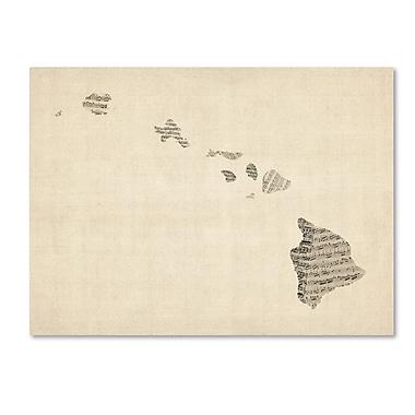Trademark Fine Art ''Old Sheet Music Map of Hawaii'' by Michael Tompsett 35