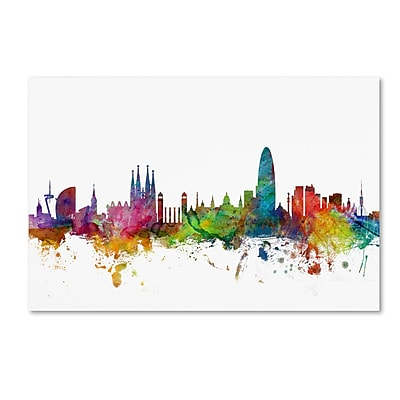 Trademark Fine Art ''Barcelona Spain Skyline'' by Michael Tompsett 30