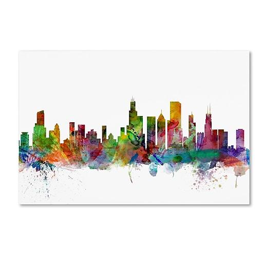 "Trademark Fine Art ''Chicago Illinois Skyline'' by Michael Tompsett 22"" x 32"" Canvas Art (MT0545-C2232GG)"