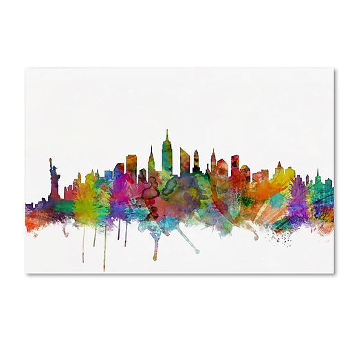 "Trademark Fine Art ''New York City Skyline'' by Michael Tompsett 12"" x 19"" Canvas Art (MT0546-C1219GG)"